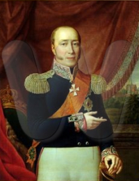 Portrait of Friedrich Franz I, Grand Duke of Mecklenburg-Schwerin, wearing the black uniform of the Mecklenburg infantry, a sash and badge of the order of the Black Eagle of Prussia