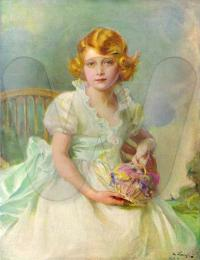 Princess Elizabeth aged 7, 1933 Painting by Philip de László